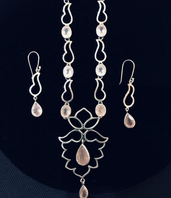 Rose Quartz Sterling Silver Lotus Necklace & Earrings